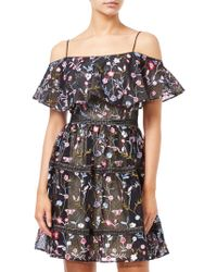 Adrianna Papell - Floral Embroidery Party Dress - Lyst