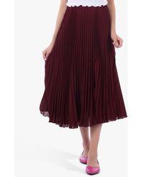 Jolie Moi Pleated Full Circle Midi Skirt - Red