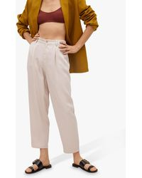 Mango Lyocell Cropped Trousers - Multicolour
