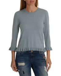 Betty Barclay Knitted Frill Top - Blue