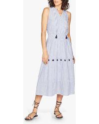 Thought Leonora Organic Cotton Tiered Tassel Dress - Blue