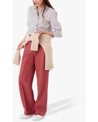 Brora Heringbone Wool Trousers - Red