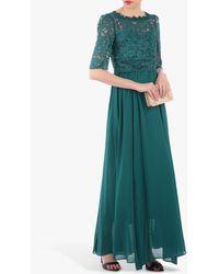 Jolie Moi Lace Overlay Maxi Dress - Green