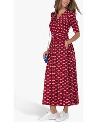 Jolie Moi Cross Front Abstract Geometric Maxi Dress - Red