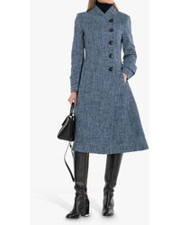 Jolie Moi Textured Fit And Flare Coat - Blue
