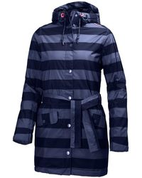 Helly Hansen Lyness Waterproof Insulated Striped Women's Raincoat - Blue
