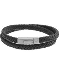 Emporio Armani - Men's Double Braided Leather Bracelet - Lyst
