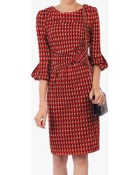 Jolie Moi Printed Bell Sleeved Pencil Dress - Red