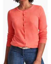 Pure Collection Crew Neck Cashmere Cardigan - Pink