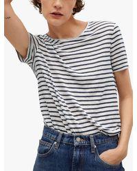 Mango Striped Linen T-shirt - Blue