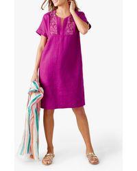 Pure Collection Linen Lace Trim Dress - Purple
