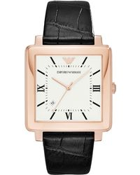 Emporio Armani - Ar11075 Men's Date Square Leather Strap Watch - Lyst