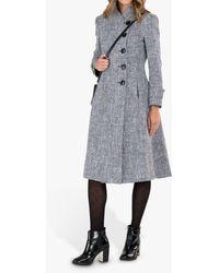 Jolie Moi Textured Longline Asymmetric Button Coat - Grey