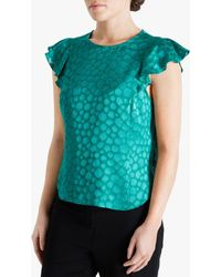 Fenn Wright Manson Petite Jewel Floral Embroidered Top - Green
