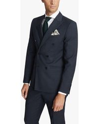 Reiss Villa Double Breasted Hopsack Wool Slim Fit Suit Jacket - Blue
