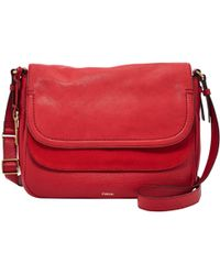 Fossil - Peyton Large Leather Double Flap Across Body Bag - Lyst
