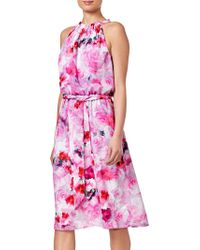 Adrianna Papell - Blurred Roses Halter Dress - Lyst