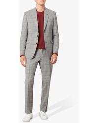 Jaeger Wool Overcheck Regular Fit Suit Trousers - Grey