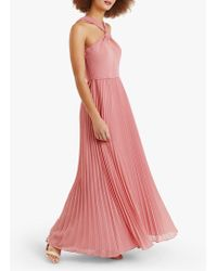 Oasis Twist Neck Pleated Maxi Dress - Pink