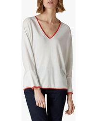 Jaeger - Silk Blend Contrast V-neck Sweater - Lyst