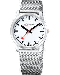 Mondaine - A6383035016sbm Unisex Simply Elegant Mesh Bracelet Strap Watch - Lyst