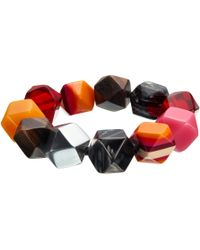 One Button - Multi Faceted Large Beads Stretch Bracelet - Lyst