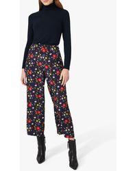 Hobbs Lauren Cropped Floral Trousers - Black