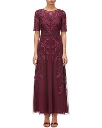 Adrianna Papell - Petite Floral Beaded Long Gown - Lyst