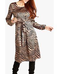 Yumi' Animal Print 'dangel' Midi Dress - Brown