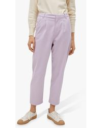 Mango Cotton Blend Pleated Trousers - Purple