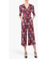 Jolie Moi Geometric Print Twist Neck Jumpsuit - Red