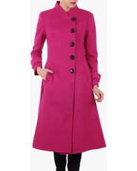 Jolie Moi Button Front Flared Coat - Pink