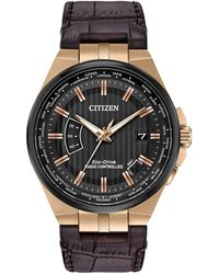 Citizen | Cb0168-08e Men's Eco-drive World Perpetual A-t Date Leather Strap Watch | Lyst