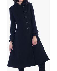 Jolie Moi Asymmetric Buttoned Coat - Black
