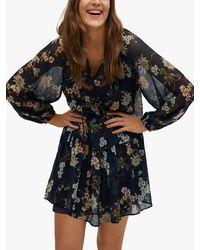 Mango Floral Print Mini Dress - Blue