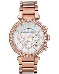 Michael Kors - Mk5491 Women's Parker Chronograph Stainless Steel Bracelet Strap Watch - Lyst
