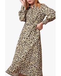 Jaeger Volume Sleeve Leopard Print Shirt Dress - Multicolour