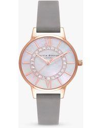 Olivia Burton Wonderland Crystal Leather Strap Watch - Multicolour