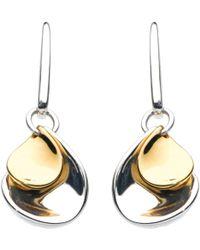 Kit Heath - Double Petal Sterling Silver 18ct Gold Plated Drop Earrings - Lyst