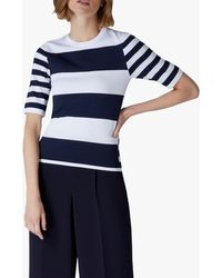 Jaeger Stripe Compact Knit T-shirt - Blue