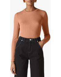 766ed9e9f447f7 Whistles Stripe Cold Shoulder Knit Top in Black - Lyst