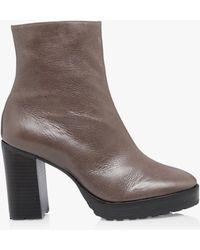 Bertie Proven Leather Block Heel Ankle Boots - Grey