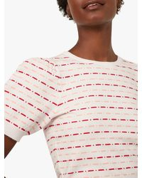 Warehouse Puff Sleeve Stripe And Spot Jumper - Red