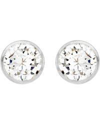 Ib&b | 9ct White Gold Round Cubic Zirconia Stud Earrings | Lyst