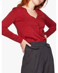 Thought Loren Organic Cotton V-neck Cardigan - Red