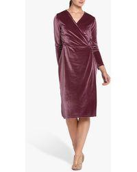 Helen Mcalinden Roma Velvet Wrap Knee Length Dress - Purple