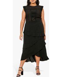 Oasis Curve Lace Midi Dress - Black
