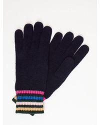 Boden Stripe Detail Wool Blend Gloves - Blue