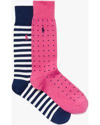 Ralph Lauren - Polo Polka Dot & Stripe Socks - Lyst