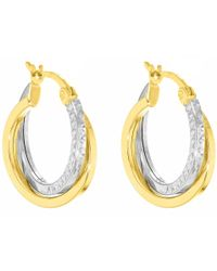 John Lewis - Ibb 9ct Gold Two Tone Diamond-cut Crossover Creole Earrings - Lyst